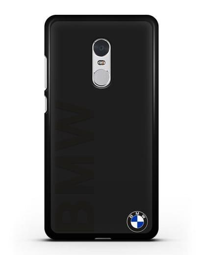 Чехол с надписью BMW и логотипом силикон черный для Xiaomi Redmi Note 4