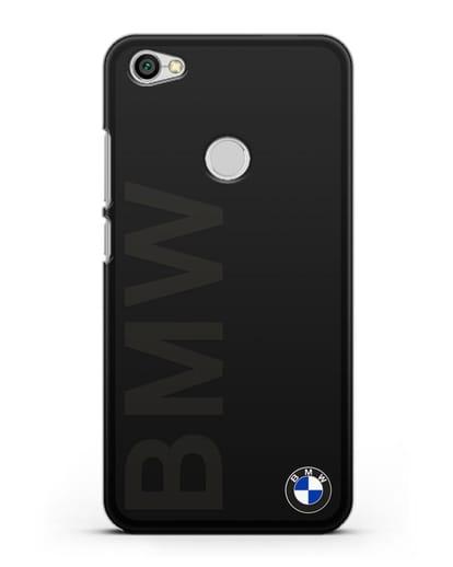 Чехол с надписью BMW и логотипом силикон черный для Xiaomi Redmi Note 5A Prime