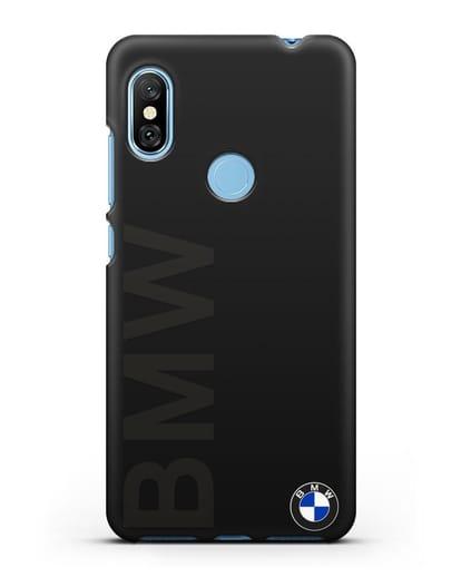 Чехол с надписью BMW и логотипом силикон черный для Xiaomi Redmi Note 6 Pro