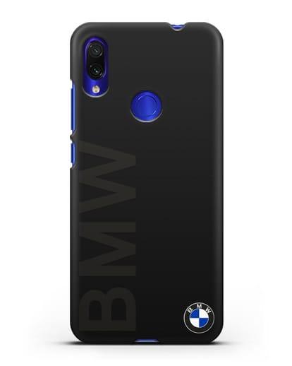 Чехол с надписью BMW и логотипом силикон черный для Xiaomi Redmi Note 7