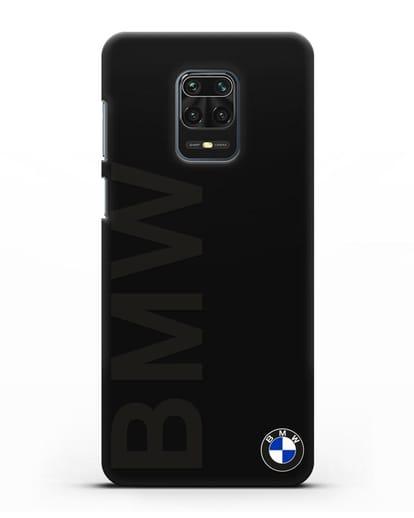 Чехол с надписью BMW и логотипом силикон черный для Xiaomi Redmi Note 9 Pro