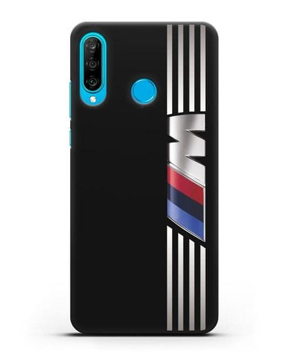 Чехол с символикой BMW M серия силикон черный для Huawei P30 Lite