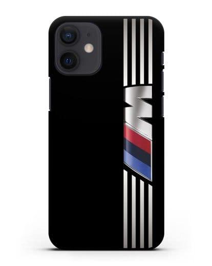 Чехол с символикой BMW M серия силикон черный для iPhone 12 mini