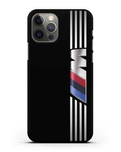 Чехол с символикой BMW M серия силикон черный для iPhone 12 Pro