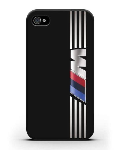 Чехол с символикой BMW M серия силикон черный для iPhone 4/4s
