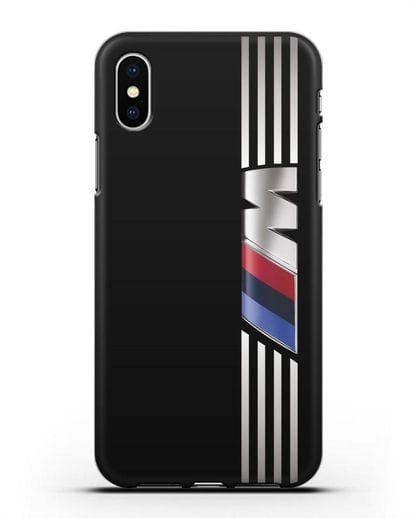 Чехол с символикой BMW M серия силикон черный для iPhone X