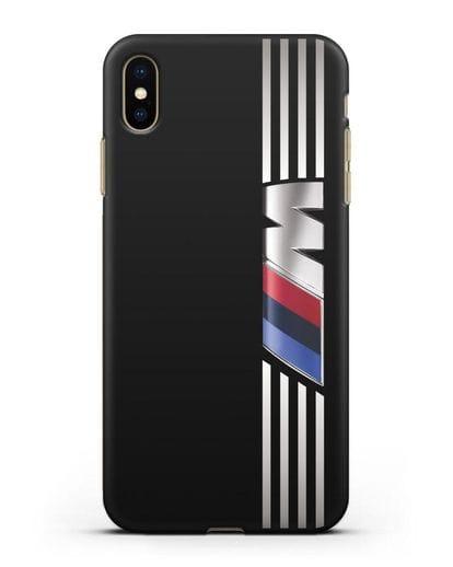 Чехол с символикой BMW M серия силикон черный для iPhone XS Max