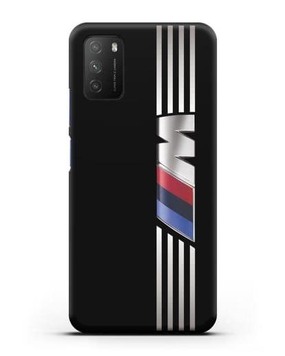 Чехол с символикой BMW M серия силикон черный для Xiaomi Poco M3