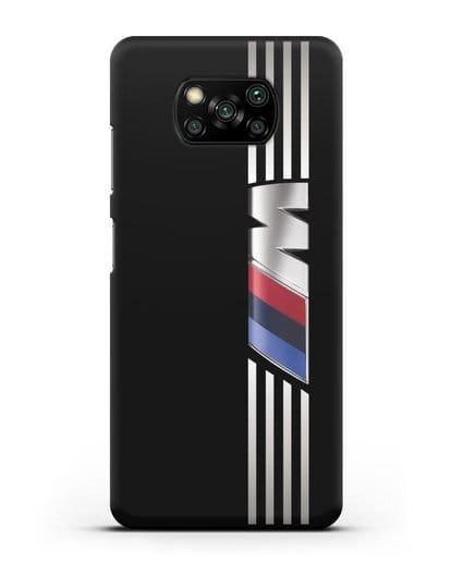 Чехол с символикой BMW M серия силикон черный для Xiaomi Poco X3