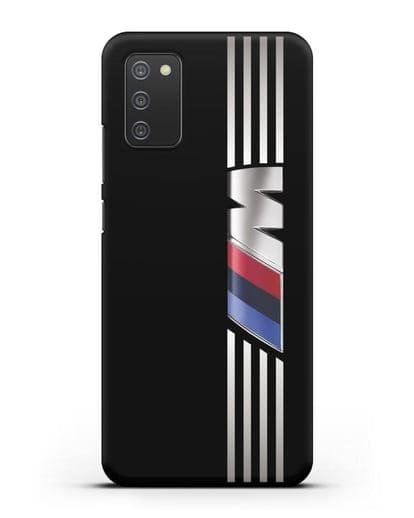 Чехол с символикой BMW M серия силикон черный для Samsung Galaxy A02s [SM-A025F]