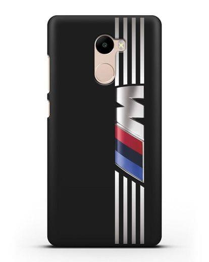 Чехол с символикой BMW M серия силикон черный для Xiaomi Redmi 4