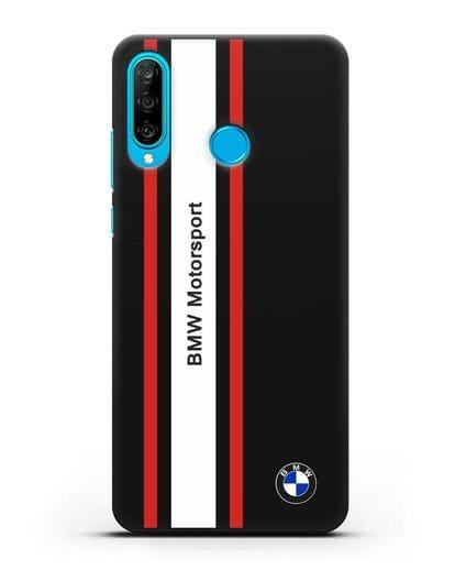 Чехол BMW Motorsport силикон черный для Huawei P30 Lite