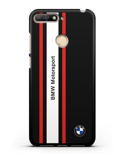 Чехол BMW Motorsport силикон черный для Huawei Y6 Prime 2018