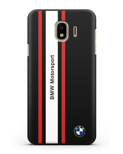 Чехол BMW Motorsport силикон черный для Samsung Galaxy J4 2018 [SM-J400F]