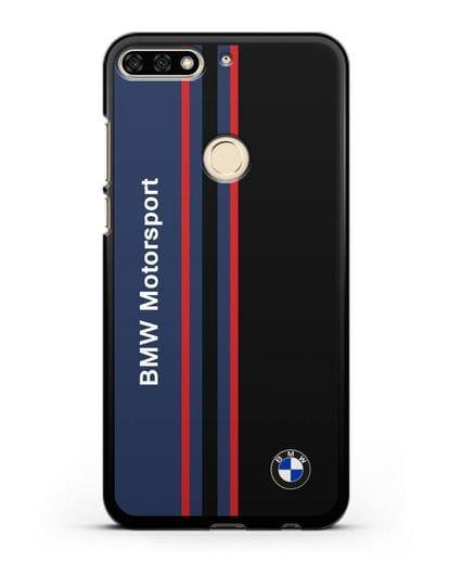 Чехол с надписью BMW Motorsport силикон черный для Honor 7C