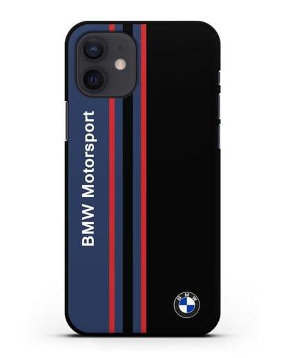 Чехол с надписью BMW Motorsport силикон черный для iPhone 12