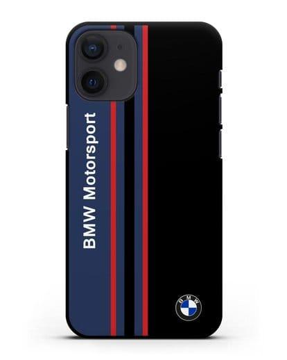 Чехол с надписью BMW Motorsport силикон черный для iPhone 12 mini