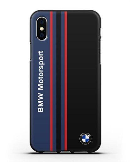 Чехол с надписью BMW Motorsport силикон черный для iPhone XS