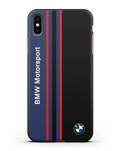 Чехол с надписью BMW Motorsport силикон черный для iPhone XS Max