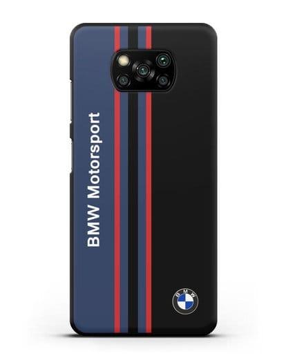 Чехол с надписью BMW Motorsport силикон черный для Xiaomi Poco X3 Pro