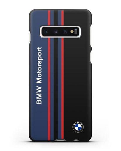 Чехол с надписью BMW Motorsport силикон черный для Samsung Galaxy S10 Plus [SM-G975F]