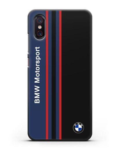 Чехол с надписью BMW Motorsport силикон черный для Xiaomi Mi 8 Pro