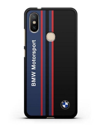 Чехол с надписью BMW Motorsport силикон черный для Xiaomi Mi A2
