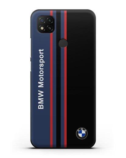 Чехол с надписью BMW Motorsport силикон черный для Xiaomi Redmi 9С