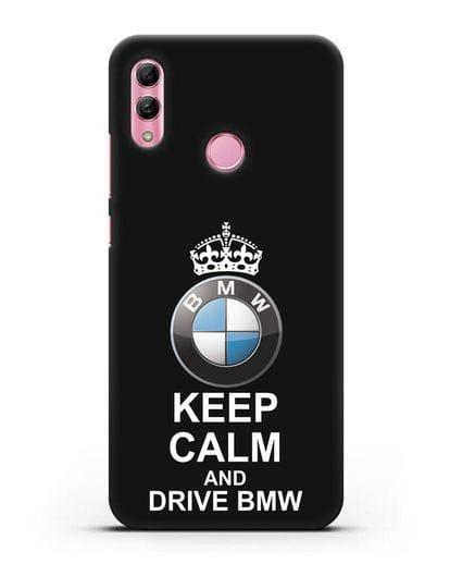 Чехол с надписью Keep Calm and Drive BMW силикон черный для Honor 10 Lite