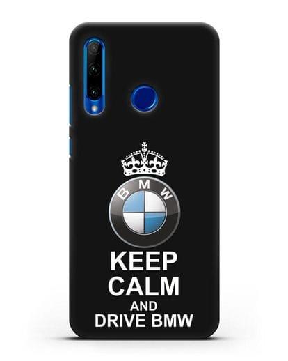 Чехол с надписью Keep Calm and Drive BMW силикон черный для Honor 10i