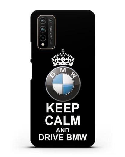 Чехол с надписью Keep Calm and Drive BMW силикон черный для Honor 10X Lite