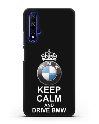 Чехол с надписью Keep Calm and Drive BMW силикон черный для Honor 20