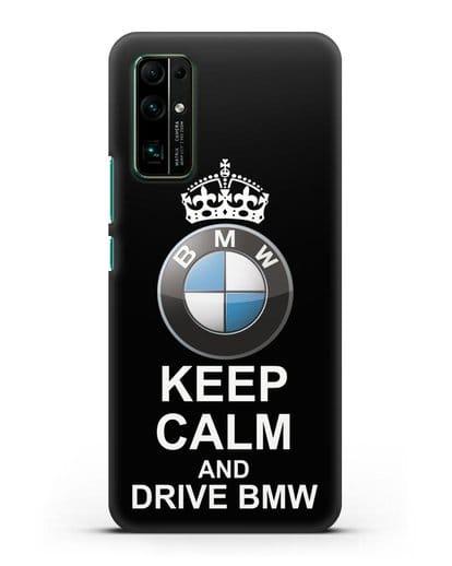 Чехол с надписью Keep Calm and Drive BMW силикон черный для Honor 30