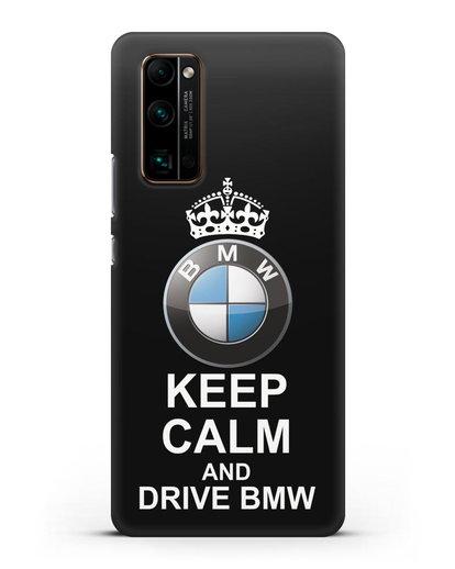 Чехол с надписью Keep Calm and Drive BMW силикон черный для Honor 30 Pro