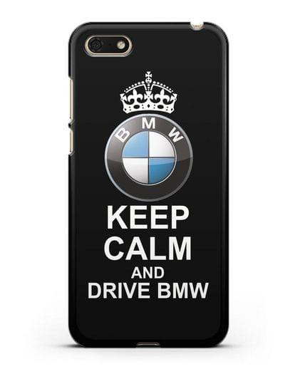 Чехол с надписью Keep Calm and Drive BMW силикон черный для Honor 7А