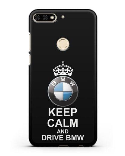 Чехол с надписью Keep Calm and Drive BMW силикон черный для Honor 7C