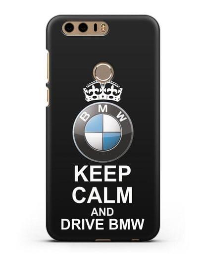 Чехол с надписью Keep Calm and Drive BMW силикон черный для Honor 8