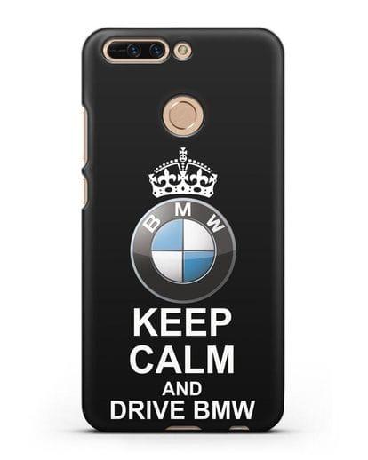 Чехол с надписью Keep Calm and Drive BMW силикон черный для Honor 8 Pro