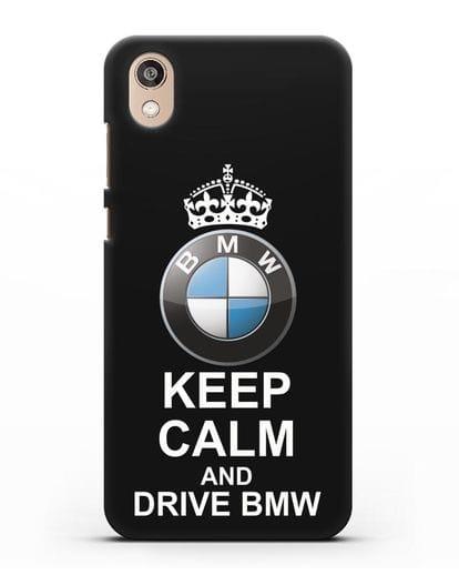 Чехол с надписью Keep Calm and Drive BMW силикон черный для Honor 8S