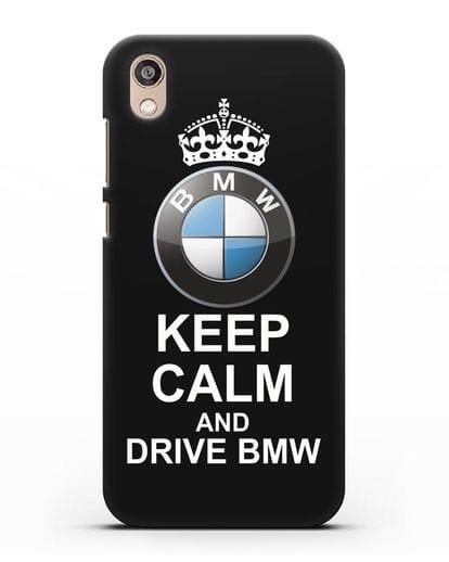 Чехол с надписью Keep Calm and Drive BMW силикон черный для Honor 8S Prime
