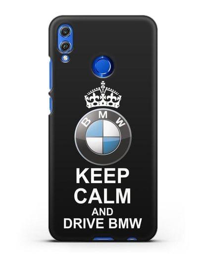 Чехол с надписью Keep Calm and Drive BMW силикон черный для Honor 8X