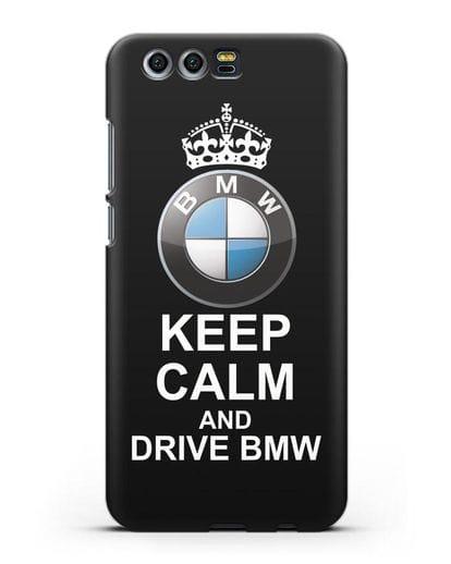 Чехол с надписью Keep Calm and Drive BMW силикон черный для Honor 9
