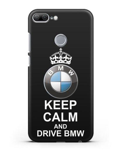 Чехол с надписью Keep Calm and Drive BMW силикон черный для Honor 9 Lite