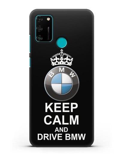 Чехол с надписью Keep Calm and Drive BMW силикон черный для Honor 9A