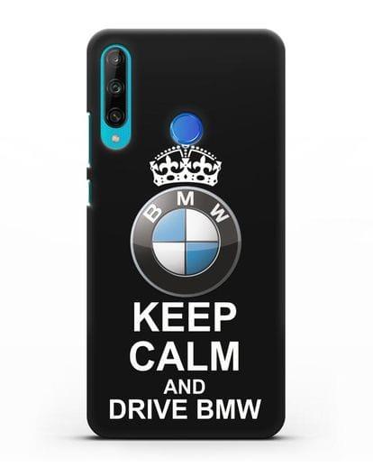 Чехол с надписью Keep Calm and Drive BMW силикон черный для Honor 9C
