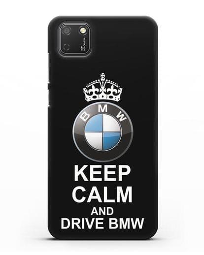 Чехол с надписью Keep Calm and Drive BMW силикон черный для Honor 9S