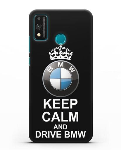 Чехол с надписью Keep Calm and Drive BMW силикон черный для Honor 9X lite