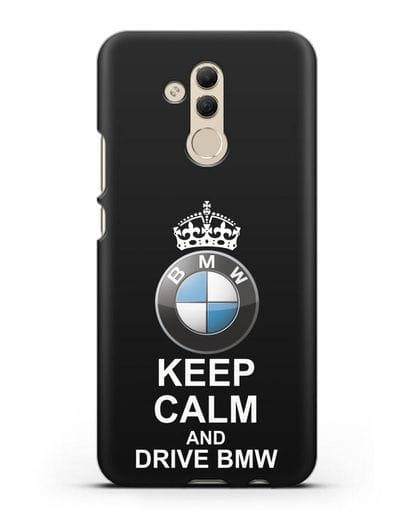 Чехол с надписью Keep Calm and Drive BMW силикон черный для Huawei Mate 20 Lite