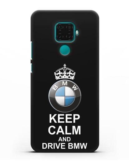 Чехол с надписью Keep Calm and Drive BMW силикон черный для Huawei Mate 30 Lite
