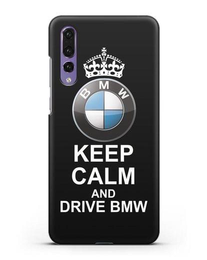 Чехол с надписью Keep Calm and Drive BMW силикон черный для Huawei P20 Pro